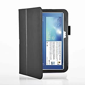 "TG Cases® New Samsung Galaxy Tab 3 10.1 Premium Folio Case / Cover / Wallet and Flip Stand + 1 Included Screen Protector and 1 Stylus Pen for New Samsung Galaxy Tab 3 10.1 "" P5200 / P5220 (Black)"