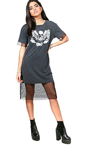 Damen Grau Ellie Midaxi-kleid Mit Print Und Netzapplikation Grau