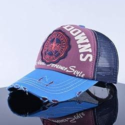 qqyz2323 Buchstaben-Baseballkappe mit Netzstoff, Sommer-Design, Sonnenblende für Damen und Herren, verstellbar, Blau