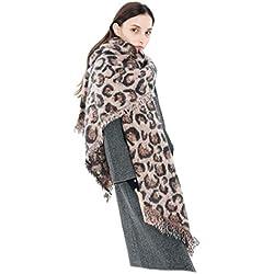 Felix & SiLK Mujer Niña Leopardo Extra Largo Extra Grueso Bufanda Wrap Chales Estolas Flecos