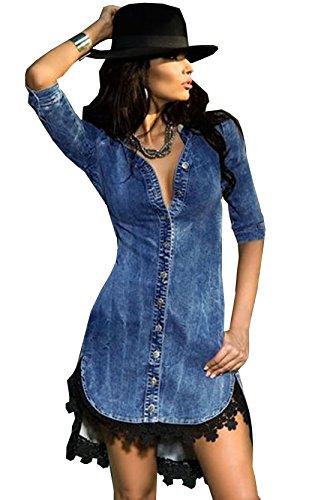 Donna Casuale Pizzo Bottone giù Camicia di Jeans Manica a 3/4 Vestito (M, blu)
