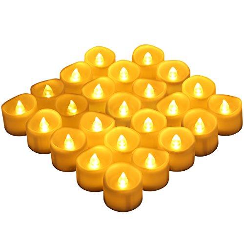 AMIR LED Kerzen, 24 LED Flammenlose Kerzen, Weihnachten LED Teelichter, Elektrische Teelichter Kerzen für Halloween, Weihnachten, Party, Bar, Hochzeit ( Flicker Gelb) (Halloween-led-kerzen)