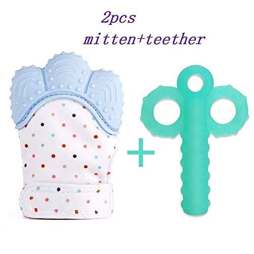 soyar multicolores zahnen Moufles bébé, apaisante Pain Relief-Âge 3-12 Mois Protéger bébé mains de Salvia & kauen sichern Sangle réglable.-bleu pastel (1 PC))