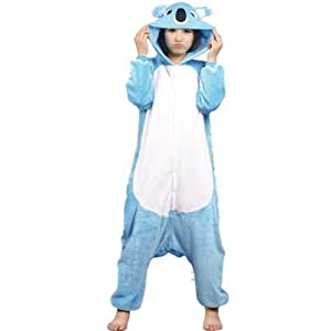 Autek New Unisexe animaux Onesie Costume de déguisement Hoodies pyjamas sommeil Porter (PJ-20) (S, bleu koala)