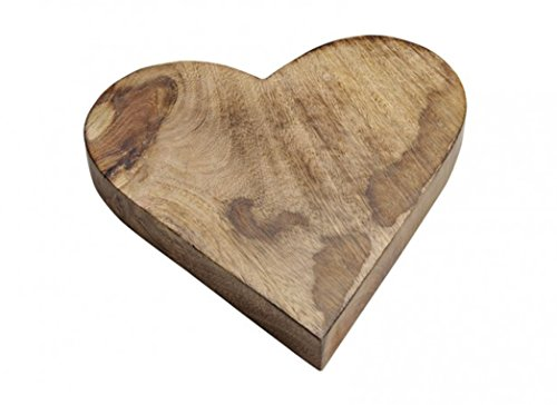 Servierbrett aus Mango-Holz in Herzform B26/H4/T26 cm braun