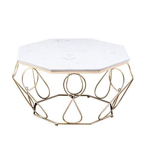 Table à thé/Table de négociation en Fer, Cadre de Table Creative Line, Plateau de Table en marbre Blanc, décoration de Restaurant à la Maison, Or, (Taille: 80 × 80 × 45 cm)
