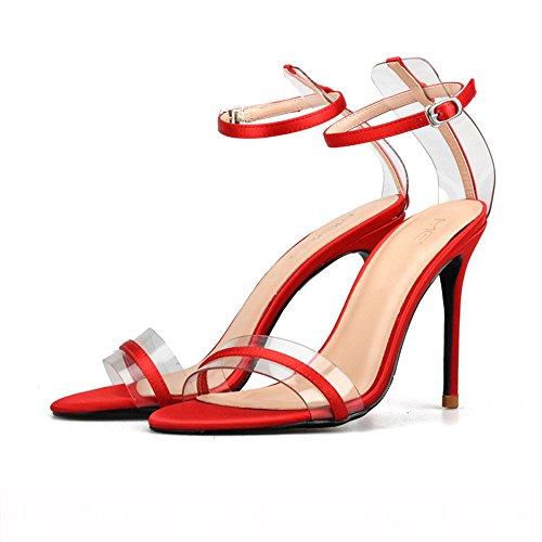 NHGY sandalen, seide, satin -, glas -, dünne zeh, schnallen, schnallen, runden kopf, high heels,8 cm,40 (Für Glas-schuhe Sale)