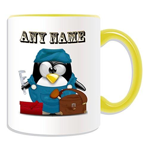 Personalisiertes Geschenk–Klempner Tasse (Design Pinguin in Kostüm Thema, Farbe Optionen)–alle Nachricht/Name auf Ihre einzigartige–Darüber Ablauf Heizung Service, keramik, ()