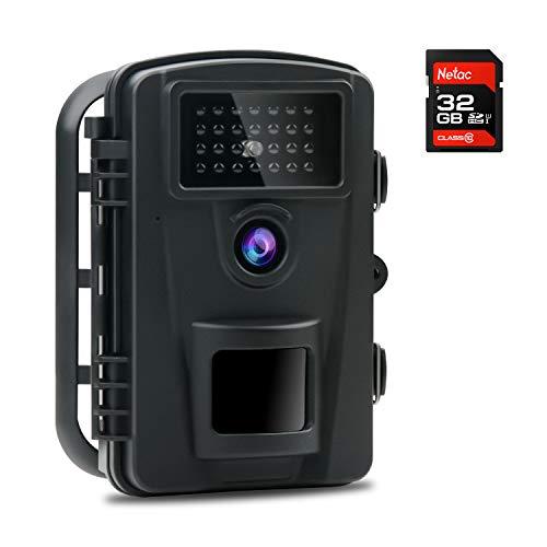 COOLIFE Wildkamera Fotofalle IP66 Wasserdicht Jagdkamera 940nm IR LEDs Nachtsicht Bewegungsmelder 0,2s Schnelle Trigger Geschwindigkeit 12MP 1080P HD Nachtsicht Wildkamera mit 32G Speicherkarte