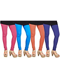 CAY 100% Cotton Combo of Blue, SkyBlue, Blue and Baby Pink Color Plain, Stylish & Most Comfortable Leggings For Girls & Women with Full Length (SIZE : Free Size)