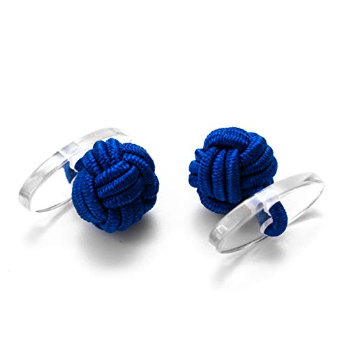 1 Paar Seidenknoten Manschettenknöpfe Knötchen Cufflinks, Mittelblau, Innenseite aus Kunststoff Knoten Gentleman Anzug Hemd Umschlagmanschette Black Tie Smoking Ball Herren Accessoire
