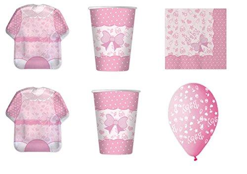 Koordinierte Mädchen Baby Girl Shower Geburt Taufe Erste Geburtstag Pink Party Dekorationen–Kit N ° 7cdc- (8Teller, 8Becher, 16Servietten, 25Stück)