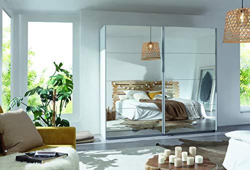 Packs Rauch Kleiderschrank/Schwebetürenschrank Caracas 2-türig. Weiß Alpin mit kompletter Spiegelfront, 2 Einlegeböden, 2 Kleiderstangen, BxHxT 226x210x62 cm