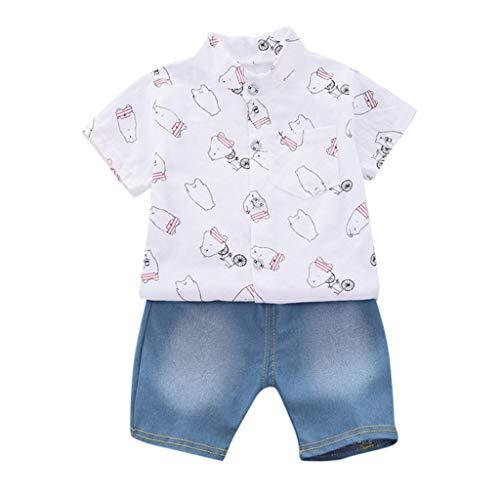 Lookhy Kleinkind Kinder Jungen Kurzarm Dinosaurier Muster Shirt Tops + Denim Hosen Kinderschlafanzüge Baby Mädchen Cartoon Outfits T Shirt Tops + Shorts Sommer Kleidung Set -