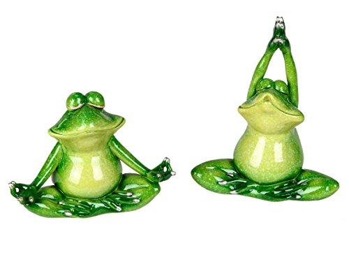 2er Set lustige Yoga Frösche Deko Frosch Figur Dekofigur Dekoration Zierfigur