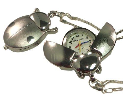 Plaque de porte personnalisée Argenté pendentif montre en forme de coccinelle avec collier chaîne Coffret cadeau-Noir-Réf-L6s