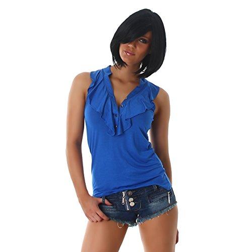 Voyelles Damen Top, ein ärmlloses Sommer-Shirt mit V-Ausschnitt, in Vielen Farben und Größen Erhältlich (34-40) Blau
