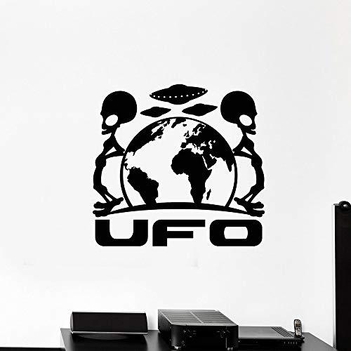 supmsds Alien Space UFO Wandtattoo Erde Planet Fliegende Untertassen Vinyl Wandaufkleber Kinderzimmer Kinderzimmer Schlafzimmer Dekor Zubehör 85,5x88,5 cm
