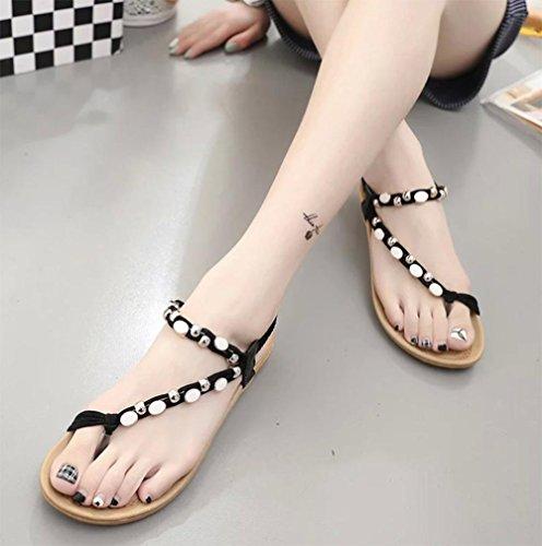 sandales d'été des femmes orteil clip perles sandales plates Black