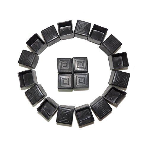 Stuhl Fuß, Displayschutzfolie 20Stück 25mm quadratisch Gummi rutschfeste Schutzhülle Möbel Bein Fuß Tipps umfasst die Kappen für Stuhl Bein Möbel