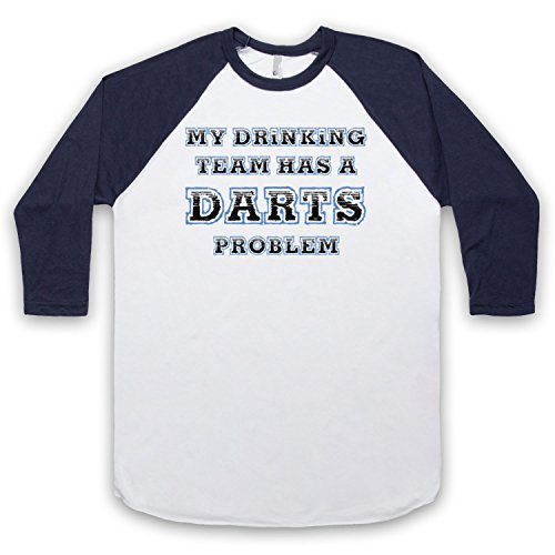 My Drinking Team Has A Darts Problem Funny Darts Slogan 3/4 Hulse Retro Baseball T-Shirt Weis & Ultramarinblau