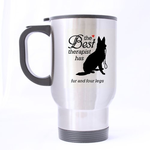 Funny Mugs Fourrure et Quatre Pieds, Les Amateurs de Tasses pour Chien pour Animal Domestique, ami de Voyage en Acier Inoxydable Thé ou café Mug – 396,9 Gram