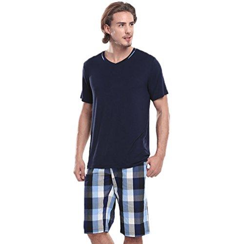 Fitibest Herren Kurzarm Pyjama Sets Schlafanzug Nachtwäsche Loungewear Sets,T-Shirt und Plaid Shorts (Shorts Plaid Nur)