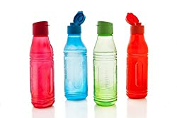 Signoraware Fliptop-Aqua Triangle Plastic Water Bottle Set, 500ml/6cm, Set of 4, Multicolour