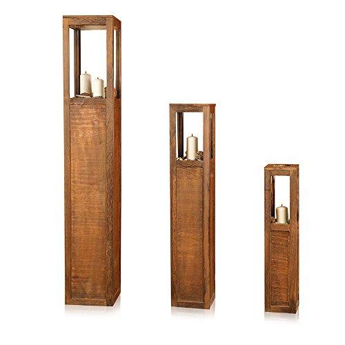 Melko® 3er Set Windlicht Windlichtsäule Laterne aus Holz, Landhausstil, Antik-Braun gewischt