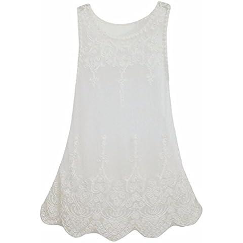 Camisa transparente de las mujeres Senora de malla hueco del chaleco de la blusa de poliester de
