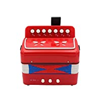 7 Keys 2 Bass Accordion Kids Accordion Toy Solo Ensemble Instrument Musical Educational Instrument for Early Childhood Teaching Red