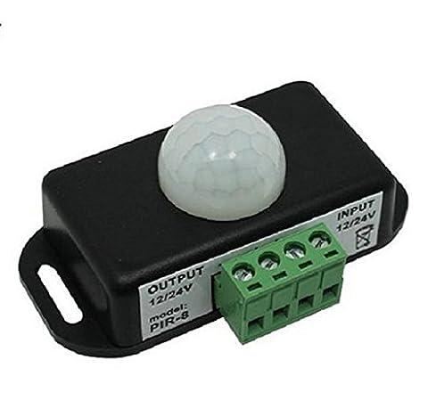 Commutateur de capteur de corps humain de LED Elyseesen Automatique DC 12V-24V 8 a infrarouge capteur de mouvement PIR commutateur pour la lumière LED