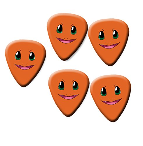 Charmander Pokemon guitar pick plectrum set of 5 medium gauge 0.71mm ()