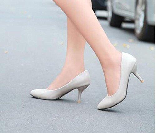 PBXP Pumps Einfache Scarpin Kätzchen Mid Heel Mandel geformte Zehe Frauen Besatzung Casual Büros Schuhe Europa Größe Innerhalb Biger Größe 31-46 Grey