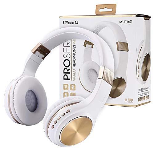 Auricolare bluetooth wireless qoosea auricolare stereo pieghevole wireless e cablato con microfono fm sd/tf integrato per iphone/wiko/samsung/ipad/pc oro