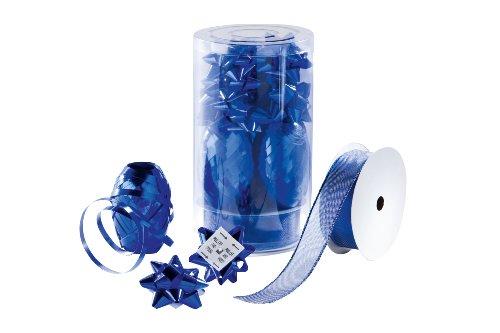 Sigel GB206 Geschenk-Schleifenset, blau, Inhalt: 9 Schleifen (Ø 50 mm), 3 Knäuel (10 m), 1 Textilband (2 m) (Neun Schleife)