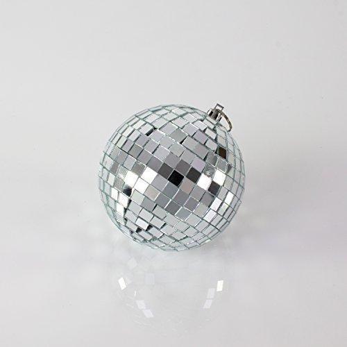 Set aus 2 x kleinen Discokugeln GLIX mit Echtglasfacetten, Ø 10 cm, silber - Spiegelkugel - 70er 80er Jahre Mottoparty - showking