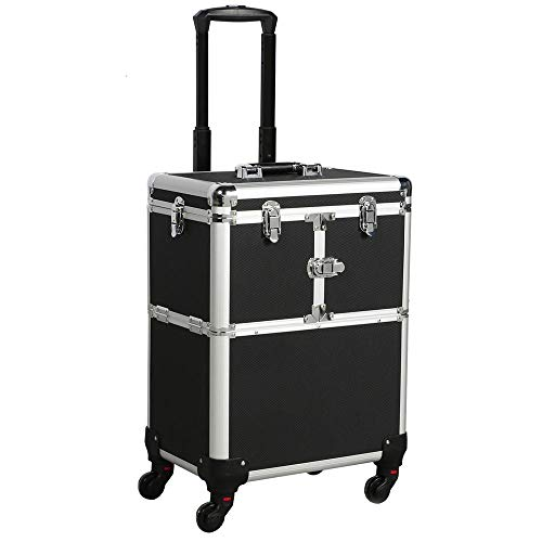 Yaheetech Alu Kosmetikkoffer Trolley Multikoffer Schminkoffer Beauty Case 38,5 x 26,5 x 57 cm schwarz
