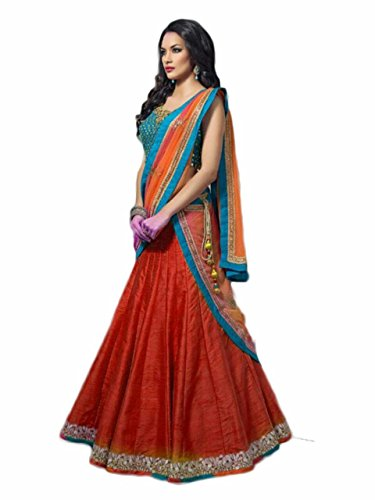 Ishopkia Banglori Silk Semi Stitched Women's Free Size Orange Color Lehenga Choli