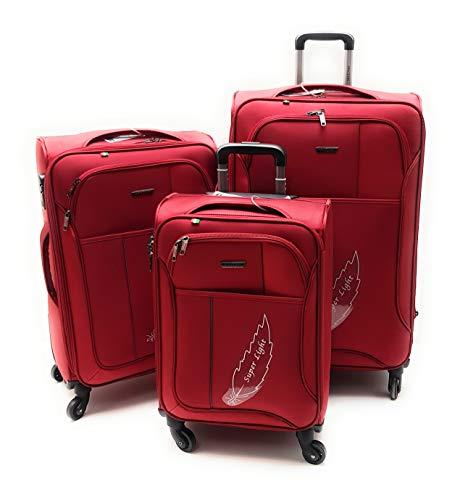 Set 3 Trolley Semirigido 4 Ruote Clacson Espandibili con Trolley Bagaglio a Mano Idoneo EasyJet (Rosso)