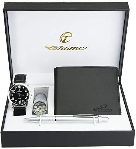 Caja de Regalo Reloj Hombre Negro - Lámpara LED - Billetera - Bolígrafo
