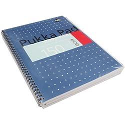 Pukka Pads Easy-Ritter - Cuaderno de espiral doble de tapa dura (A4, 150 hojas microperforadas, 80 g/m², raya de 8 mm, con margen, con 4 taladros), color azul