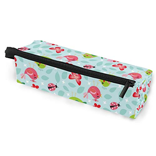 Pencil Bag Pen Case Pouch Cute Bird Ladybug Butterfly Makeup Cosmetic Sunglasses for Girls Boys Travel School Rainbow Butterfly Zebra