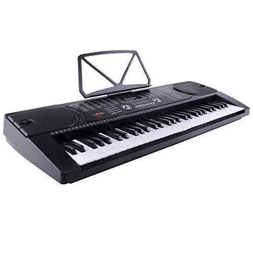 MK-2089 61 Tasten Klaviere Keyboards inkl. Mikrofon zum Mitsingen Elektronische Orgel Klavier Digitalpiano Schwarz