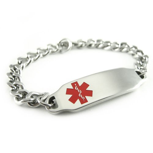 My Identity Doctor Stainless Steel, Medical Alert ID Bracelet, Curb Chain, Red Symbol