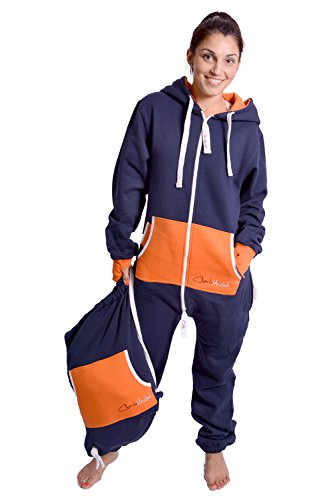 Charlie McLeod The Classic Unisex Onesie in Inky Blue and Orange - S - 4
