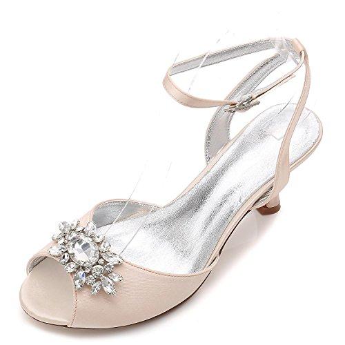 L@YC Frauen-Hochzeits-Schuhe D17061-59 Rhinestone-Niedrige Mittlere Katze Mit abend-Partei-Offenen Zehe-Formalen Klassischen Schuhen, champagne, 36