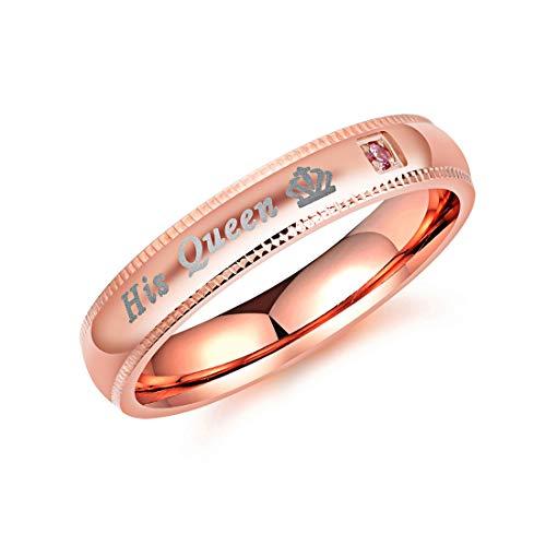 Daxey - Fashion Her König Seine Königin Ring für Frauen-Mann-Edelstahl-CZ-Kristallkronen-Paar-Ring für Liebhaber Schmuck Hochzeit [8 Königin] (König & Queen Kostüm)