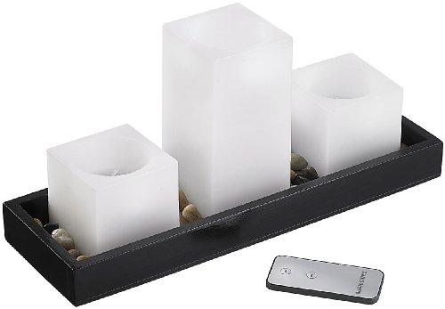 Britesta LED-Kerzen, bedienbar: Feng-Shui-Dekoration: LED-Echtwachskerzen auf Holztablett (LED-Kerzen mit Fernbedienungungen)