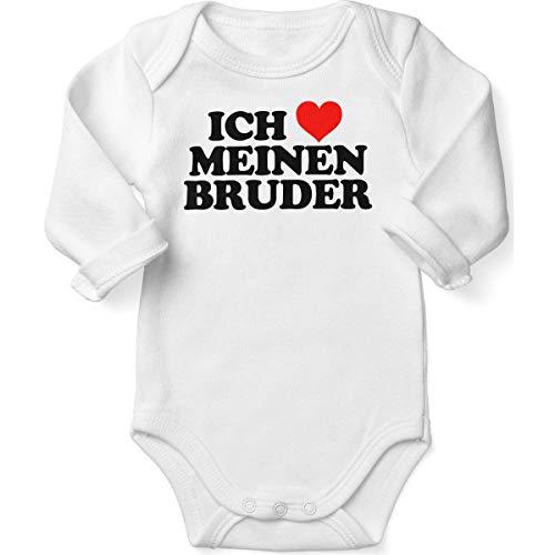 Mikalino Babybody mit Spruch für Jungen Mädchen Unisex Langarm Ich liebe meinen Bruder | handbedruckt in Deutschland | Handmade with love, Farbe:weiss, Grösse:56
